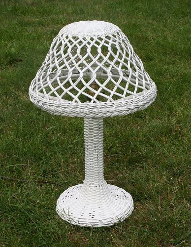 Antique Wicker Lamp, Haywood Wakefield label