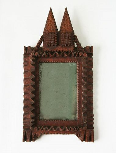 Antique Tramp Art Frame/Folk Art Frame