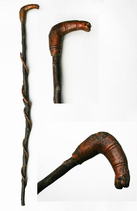 Antique Folk Art Cane / Walking Stick with Snake