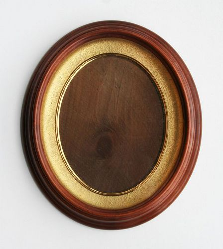 Antique Victorian Oval Walnut Deep Well Shadow Box Picture Frame