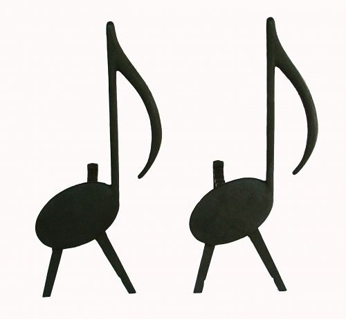 Mid-Century Modern Andirons of Musical Notes