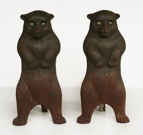 Vintage Cast Iron Bear Andirons with Green Glass Eyes