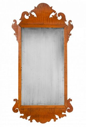 18th C. New England, Solid Tiger Maple Chippendale Mirror