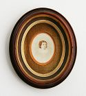 Antique Victorian Oval Walnut Shadow Box Picture Frame
