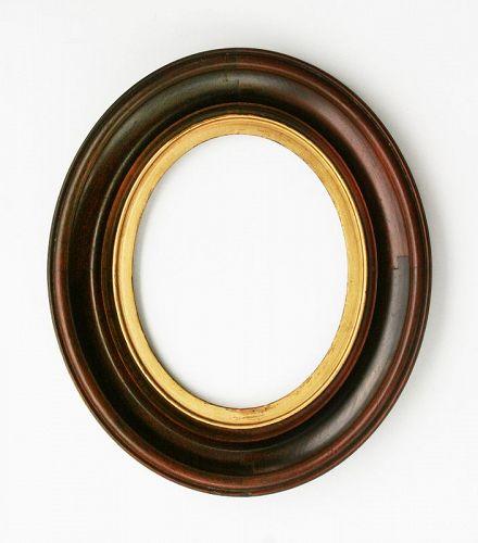 Antique Oval Walnut Shadow Box Frame