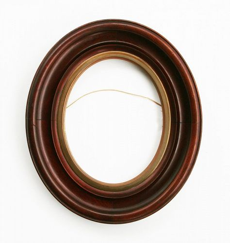 Antique Victorian Oval Walnut Picture Frame