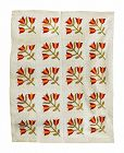 Antique Quilt, Tulip Design, Circa 1880
