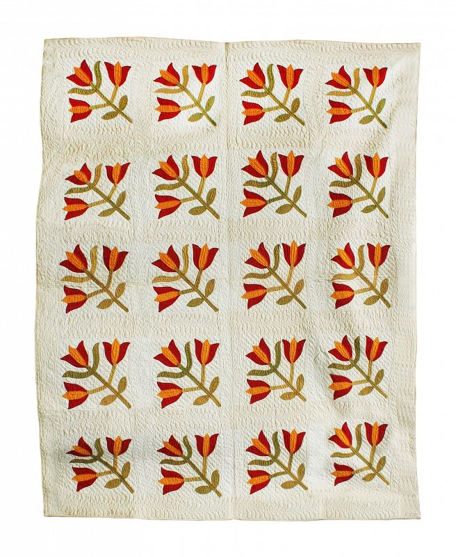 Antique Quilt, Tulip Design, Circa 1880