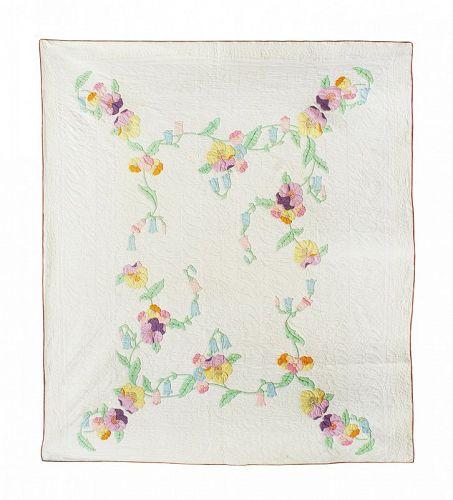 Vintage Applique Pansy Quilt