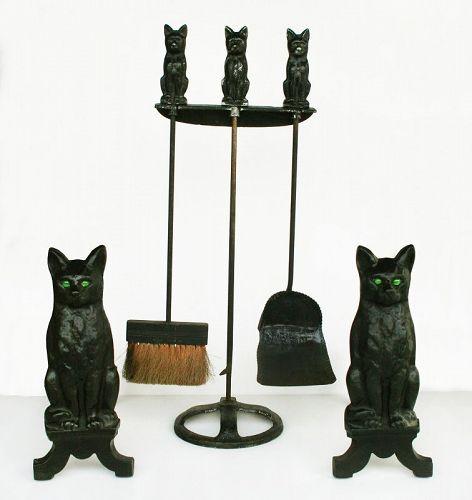 Antique Cat Andirons and Tools Set, RARE