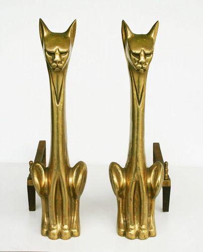 Mid Century Modern Cat Andirons, solid Cast Brass