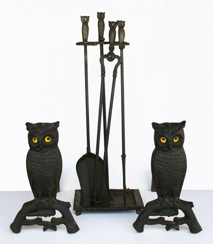Antique Owl Andirons set with matching Tools,  Rostand Manufacture