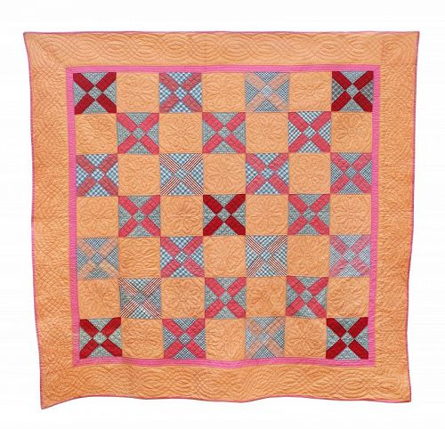 """Antique Quilt, """"Mountain Peak & Devil's Puzzle Combination"""
