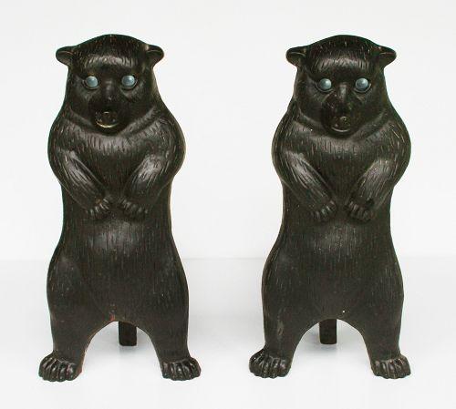 Vintage Cast Iron Bear Andirons Green Glass Eyes