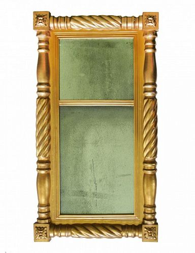 Antique American original Gilt Federal Two Part Mirror, Circa 1820