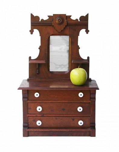 Antique American Victorian Walnut Salesman's Sample/Miniature Dresser