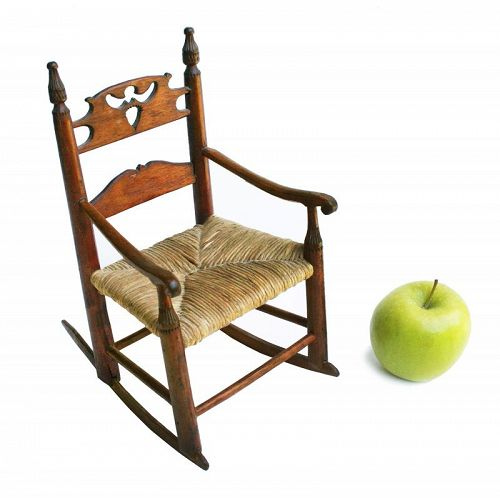 Rare Antique Early American Miniature/Doll's Rocking Chair