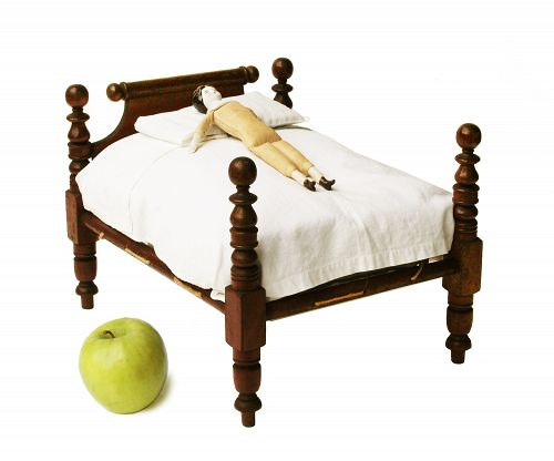 Antique 19th Century American Miniature Dolls Rope Bed, with bedding