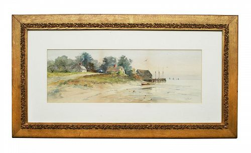 Original Louis K. Harlow, Watercolor Coastal Scene