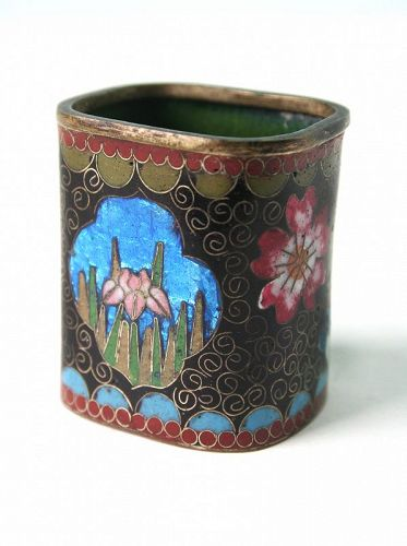 Antique Japanese Ginbari Cloisonne Brush Pot