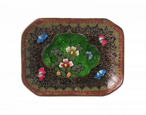 Antique Japanese Cloisonne Ginbari Dish