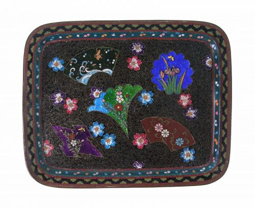 Antique Japanese Cloisonne Ginbari Tray
