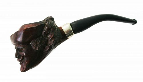 Vintage Carved Pipe of a Renaissance Man