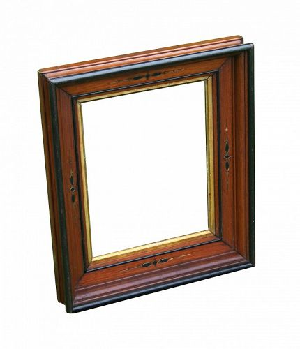 "Walnut Victorian Pict. Frame/Gilt Decoration, fits 8"" X 10"", with old"