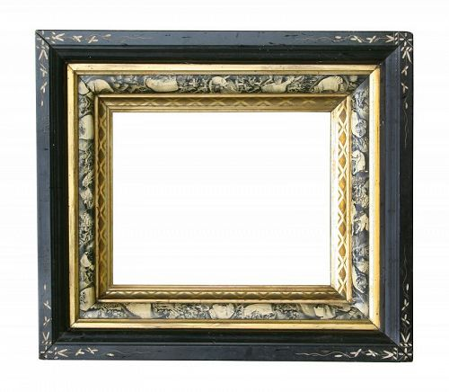 Victorian Paint Decorated Faux Marble Shadow Box Frame,w/ 2 Gold Fille