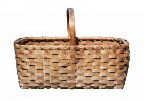 Antique Ash Splint Basket, Maine