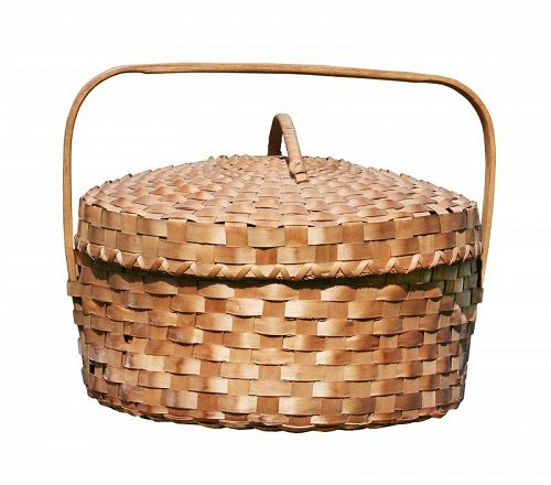 Antique Ash Splint Covered Basket , Maine origin