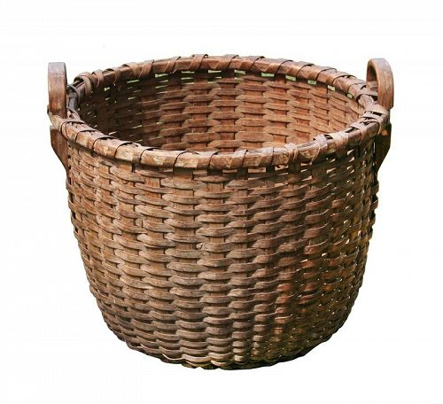 Antique Splint Basket, Large round 1/2 Bushel Basket