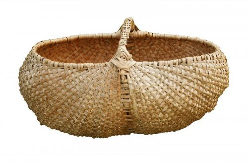 Antique Buttocks Basket, Large, 19th or early 20th Century