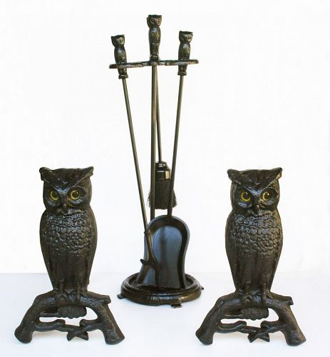 Owl Andirons set with matching Tools