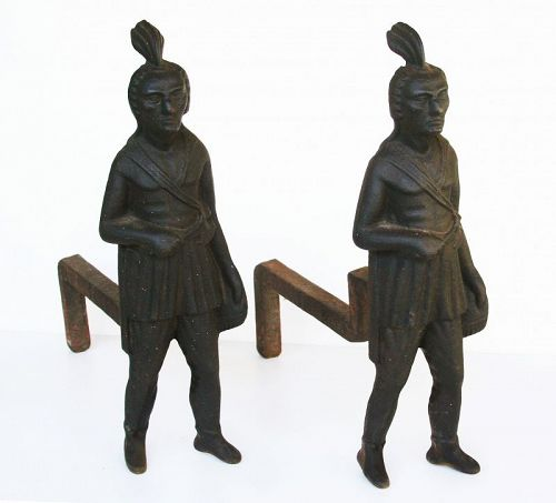 Andirons, Native American Men, Late 19th Century, Rare