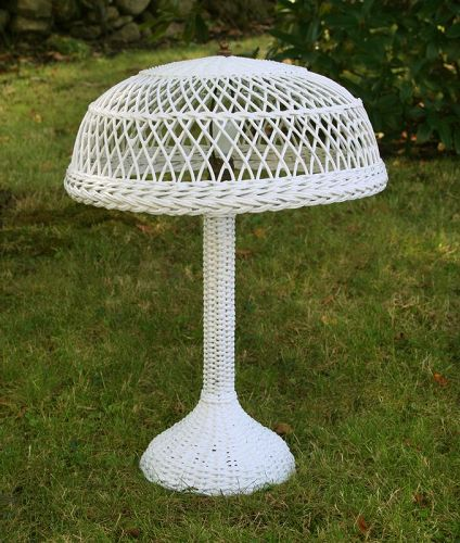 Antique Wicker Table Lamp, Circa 1910