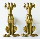 Antique Brass Hound Dog Andirons
