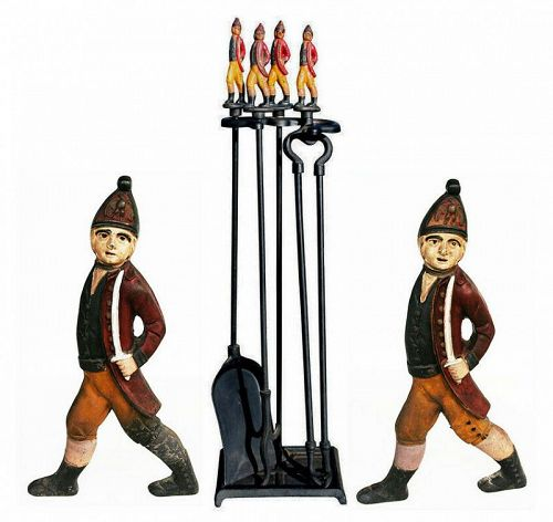 Antique Hessian Soldier Andirons with Tools