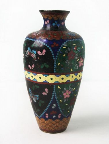 Antique Japanese Cloisonne Vase, w/ iridescent foil work, Meiji Period