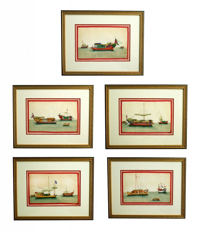 Antique Chinese Pith Paintings, RARE large size, Junques& Sampans