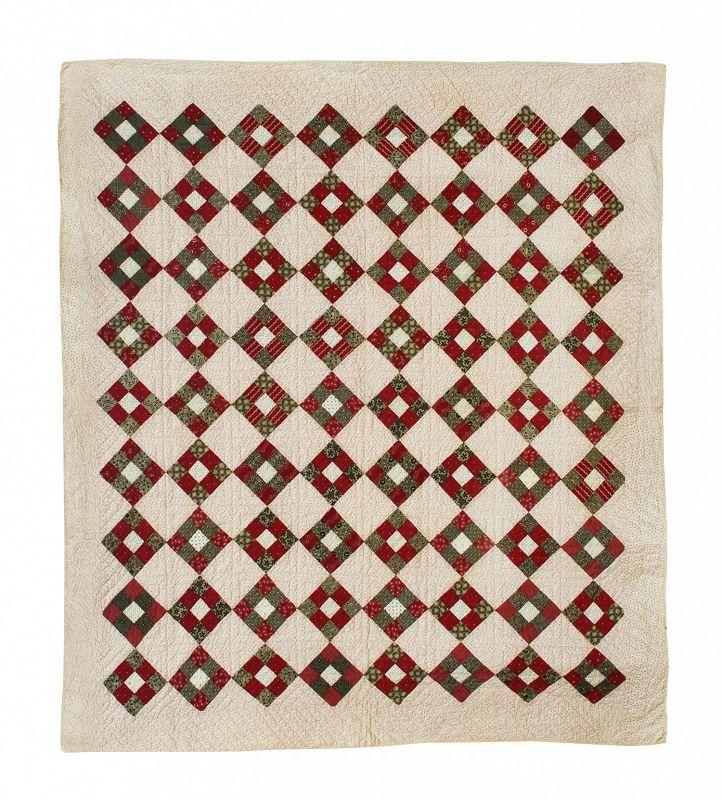 """Antique Quilt, Nine Patch, 76"""" X 68"""""""