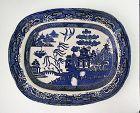 Antique Blue Willow Iron Stone Platter