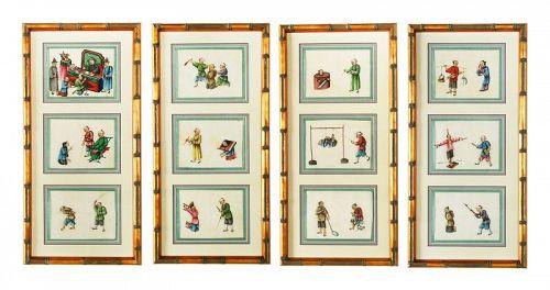 Chinese Pith Paintings,19th Century, RARE Original set of 12