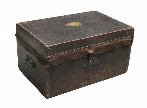 """Antique Box, Leather Covered, 20 1/2"""" X 13"""" X 11"""""""