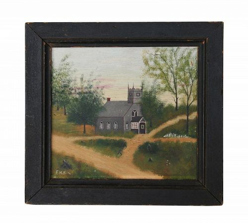 Antique Primitive Oil on Board, Country Church, Signed F.H.S. '96