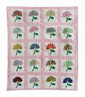 "Vintage Large Flower Quilt, 82"" X 70"""