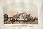 Original Lithograph Of The Phila. Centenial Exhibition