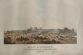 Original Lithograph Of The Phila. Centennial Exhibition