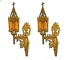Pair Of Gilded Bronze Gothic Revival Sconces