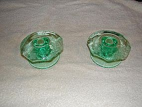 Green depression glass candle sticks